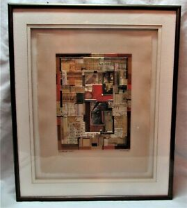 """RODERICK SLATER """"A BRIEF REST"""" SIGNED TWICE FRAMED MATTED 6"""" X 7 3/4"""" COLLAGE"""