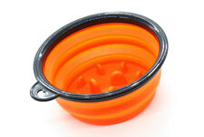 COLLAPSIBLE SILICONE TRAVEL SHAVING BOWL WITH AGITATORS - ORANGE - BRAND NEW!