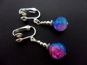 A PAIR  TIBETAN SILVER BLUE/PINK CRACKLE GLASS BEAD CLIP ON EARRINGS.