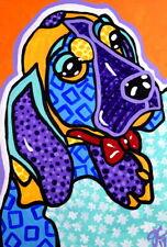 Original Painting Hound Puppy Beagle Dog Dogs Basset Hound Pet Owner Art Design