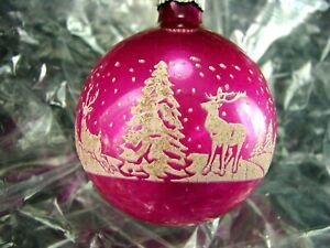"Antique Shiny Brite Ornament ~1940 K&W PURPLE w REINDEER & TREES 2.25""  Handsome"