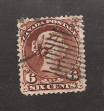 Canadian 1868 Victorian 6 cent postage stamp #27 Θ used F ~ Superfeas
