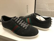 GUCCI MENS SHOES GLITTER WEB STUD SNEAKERS BLACK TRAINERS UK 9 RARE