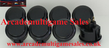 8 Black Sanwa OBSF30 arcade buttons