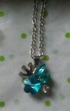 BLUE FLOWER WITH CROWN RHINETONES PENDANT SILVER KIDS NECKLACE NEW WITH TAG 💝