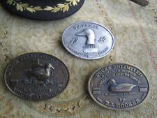 Ducks Unlimited T J Hooker Brass Badge Plaquer Duck Decoys Set of 3 Size3.5x2.5