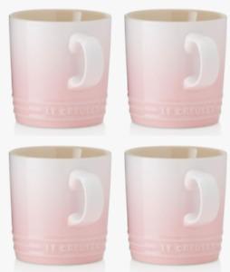 Beautiful Durable Le Creuset Set Of 4 Shell Lift Pink Coffee Tea Mugs Cups New