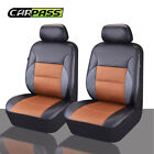 CARPASS Sandwich Leather Brown Seat Cover Full Synthetic Set 2 Front Seat Covers