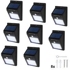 8x Lámpara energía solar exterior 6LED de pared de jardín movimiento pir sensor