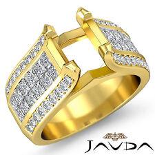 Pave Invisible Set Diamond Wedding Round Semi Mount Ring 18k Yellow Gold 1.7Ct