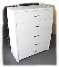 Wave Hi Gloss White 5 Drawer Tallboy - Fully Assembled - BRAND NEW
