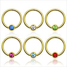 "14K Gold Plated Captive Aqua CZ Gem Bead Ball Ring 14g  1/2"" Ear Lip 1 PIECE"