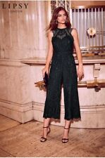 Lipsy VIP Black Lace Cocktail Evening Culotte Jumpsuit Size 12 £125 Party Prom