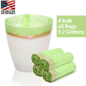 4 Rolls 60 pcs Durable Garbage Bag 5 Gallons Disposable Clean-up Trash Bags USA