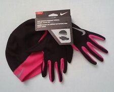 NWT Nike Women's Black/Red Running Thermal Beanie/Glove Set Size L NRC27067