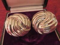 Riesige 925 Silber Ohrringe Clip Rund Auffällig Stylisch Knoten Vintage Retro
