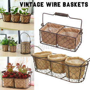 Vintage Iron Plant Basket Rattan Hanging Flower Pot Storage Basket Fabric Liner