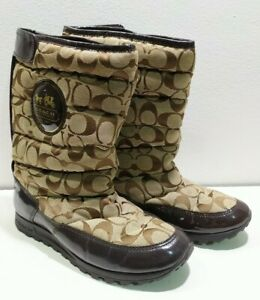 Coach winter Boots brown Signature logo Womens Size 6