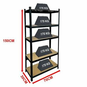 5 Tier Shelf Shelving Unit Racking Boltless Industrial Storage Shelves Black
