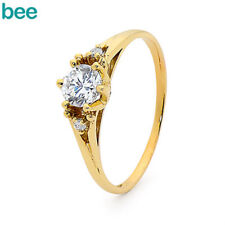 Coronet Simulated Diamond 9k 9ct Solid Yellow Gold Solitaire With Accents Rings