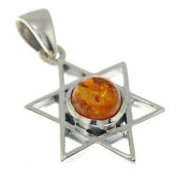 Small Star of David Silver Pendant, w Baltic Amber, 925 Solid Sterling Silver