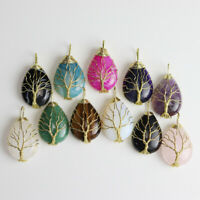 Natural Amethyst Aventurine Opalite Gold Tree of Life Wire Wrap Gemstone Pendant