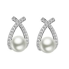 Cross Knot Pearl and Crystal Stud Earrings