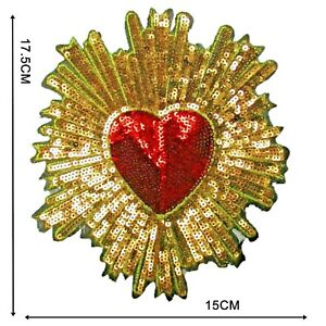 Large Sequin Heart Iron On Patch Decoration Motif Badge Bright Red & Gold P119
