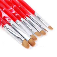 7pcs/set Nail Art UV Gel Brush Polish Painting Drawing Pen Kit Manicure DIY Tool