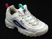 WOMENS FILA DISRUPTOR WHITE LEATHER 80S RETRO OLD SKOOL CHUNKY TRAINERS SIZE 5