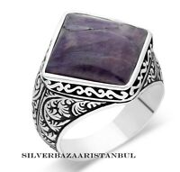 Handcrafted Natural Purple Amethyst Stone Turkish 925 Sterling Silver Mens Ring