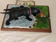 Folk Art Primitive Carved Wood Dog Puppy Duck Lab Labrador Vintage Sculpture