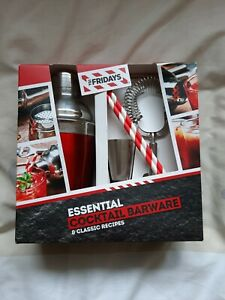 TGI Fridays Stainless Steel Cocktail Set Shaker Barware & Classic Recipes 6 pcs
