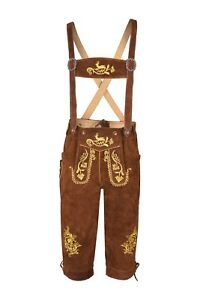 Men,s Long  LEDERHOSEN Real Suede Leather with Matching Suspenders