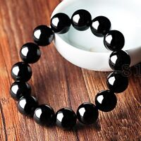 Fashion 12mm Natural Black Agate Onyx Round Gemstone Beads Bracelet Bangle 7.5''