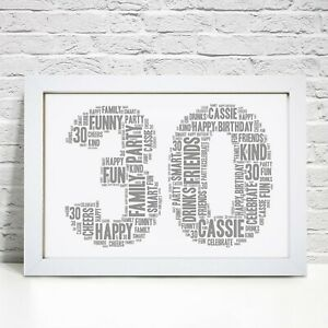 Personalised 30th Birthday Print Gift Gifts For Him Her Men Women Son Daughter
