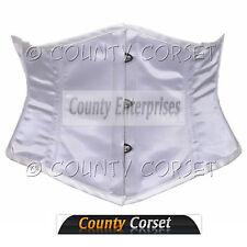 Shaper Cincher MINI Vestaglia Completo In acciaio steccato waistbust SEXY BIANCO corsetto in Satin
