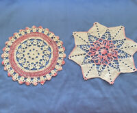 """2 Vintage Hand Crochet Doilies Pink  White 12"""" Rd."""