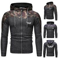 Men Hoodie Camouflage Jacket Autumn and Winter Cardigan Patchwork Printed