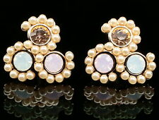 unique pink white opal crystal resin fashion jewelry gold tone stud earrings E15