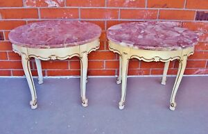 Pair VTG Imported Portuguese PINK Marble Top French Provincial Style End Tables