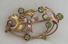 ANTIQUE RUSSIAN 1908 ART NOUVEAU 14K GOLD DEMANTOID GARNET & DIAMONDS PIN BROOCH
