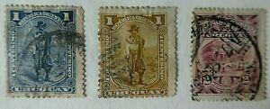 URUGUAY ORIENTAL 1895. 1c bleu - 1c brun - 2c violet. oblitérés. used.