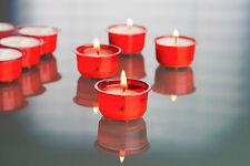 18 Premium Teelichter Acryl Cup Rot transparente Hülle 7h Brenndauer Cup Candle