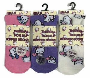 Girls Kids Childrens Kitty Cat Warm Soft Comfy Thermal Gripper Slipper Bed Socks