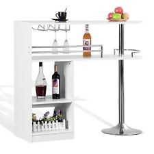 Homegear Kitchen Cocktail Bar Table - White