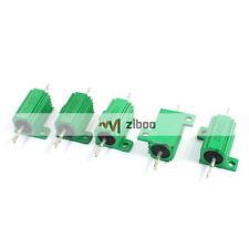 5 Pcs 450Ohm 25Watt Aluminium Clad Wirewound Heatsink Resistors Green 63x28x15mm