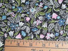 Vtg 70s Pink Blue Olive Floral On Black Quilt Doll Sew Fabric 36x43 BTY #ff404