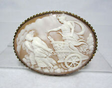 Very Fine Large Victorian Shell Cameo of the Goddess Diana - Signed on Reverse