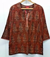 Indian Style Woman's Tunic 3/4 Sleeve Floral Multi Color Blouse Top Size XXL